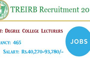 TREI – RB Recruitment 2018 – Apply for 465 Degree College Lecturers Posts