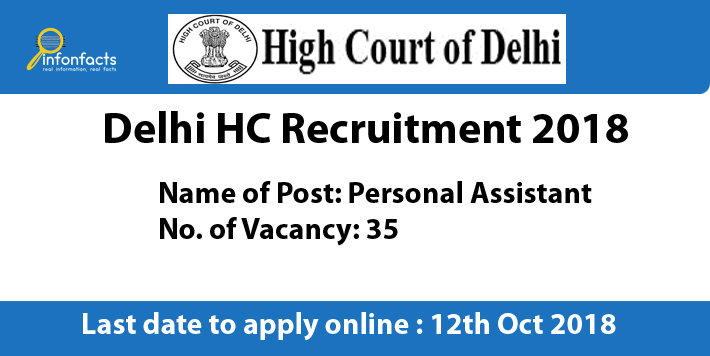Delhi HC Recruitment 2018 – Apply Online, Eligibility Criteria and Application Fees