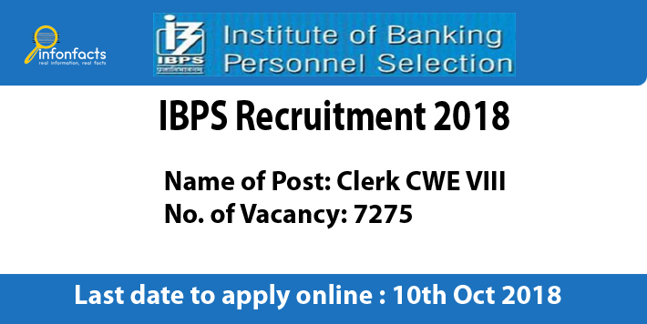 IBPS Clerk CWE VIII Recruitment 2018 – Apply Online, Eligibility Criteria and Application Fees