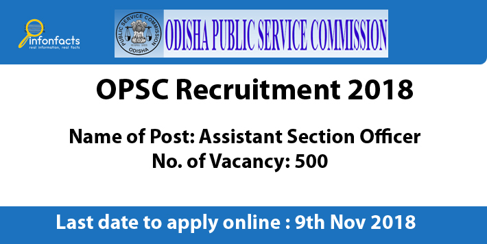 OPSC Assistant Section Officer Recruitment 2018 – Apply Online, Eligibility Criteria and Application Fees