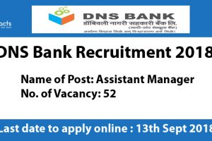 DNS Bank Recruitment 2018 - Apply Online, Eligibility Criteria and Application Fees