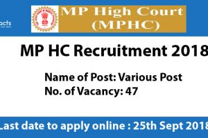 MP HC Recruitment 2018 – Apply Online, Eligibility Criteria and Application Fees